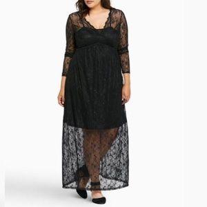 TORRID Black Lace 2pc Maxi Dress SZ 2